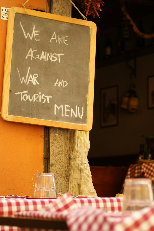 No Tourist Menu