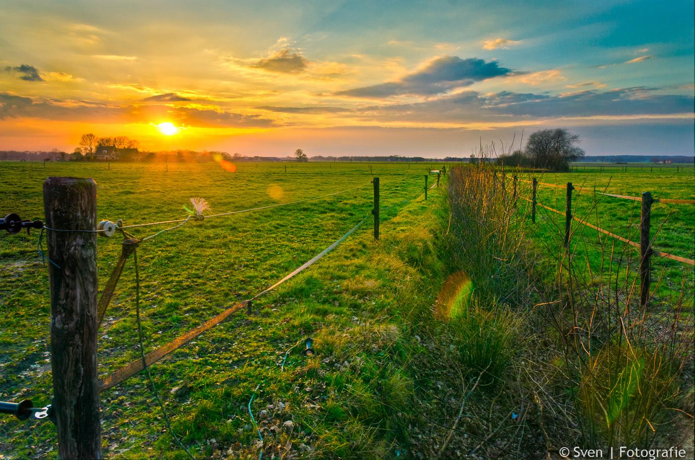 HDR, Hellendoorn, Hellendoornse Berg, Sven, fotograaf, Almere, landschap, Nederland, Netherlands, landscape, lowlands, sunset, zonsondergang, boerenland, sloot, struiken, in, hek, gras, groen,