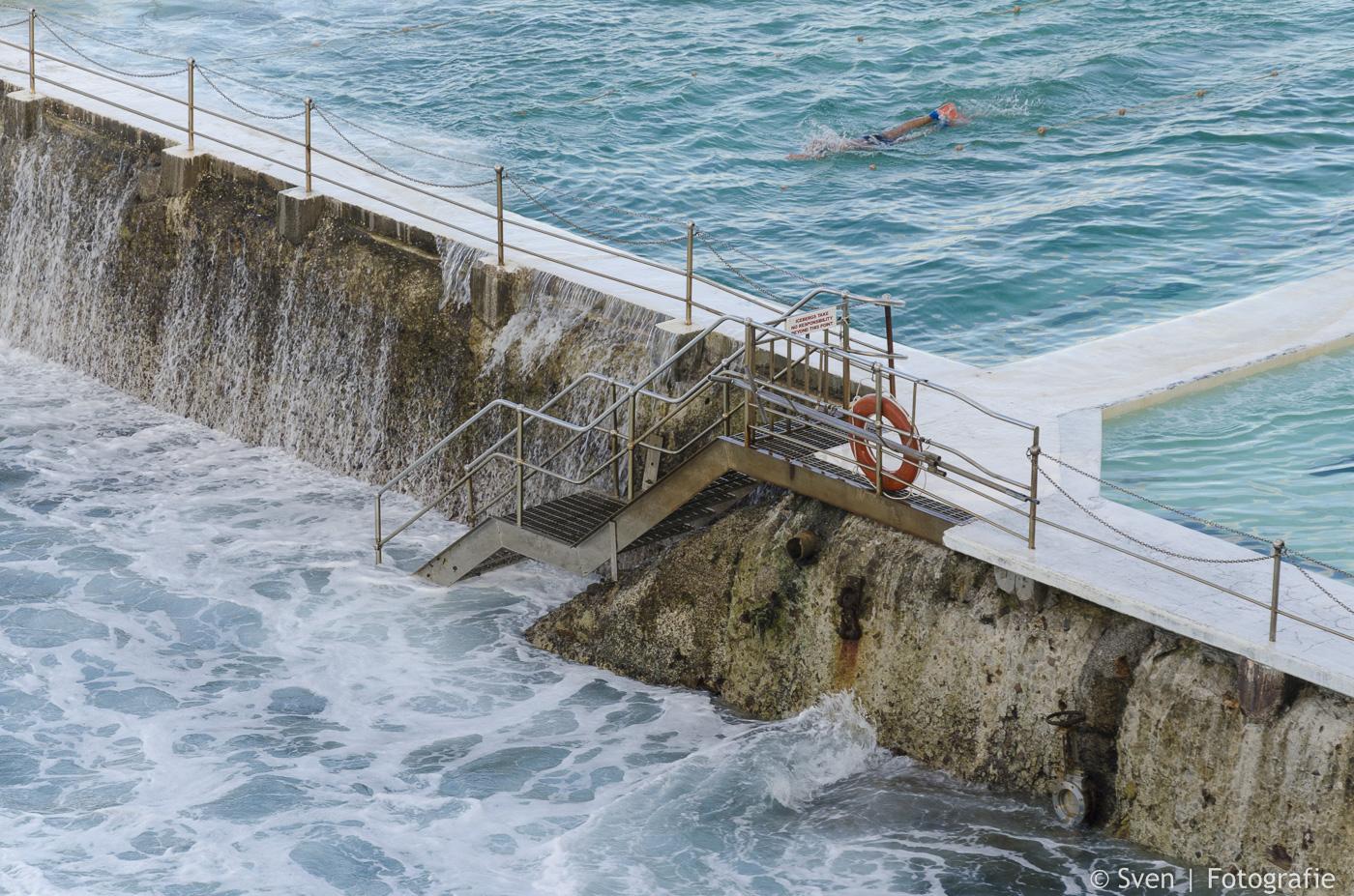 ocean baths, werk, aan, muur, verkocht, sven, australië, bondi, sydney, foto, canvas,
